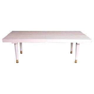 Mid-Century White Slat Bench Coffee Table