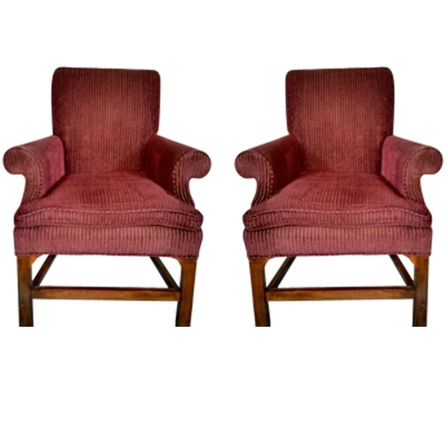 Baker living room chairs a pair chairish for Pair of chairs for living room