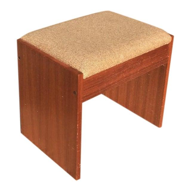 Danish Modern Upholstered Teak Vanity Stool - Image 1 of 4