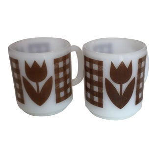Milk Glass Coffee Cups - Pair