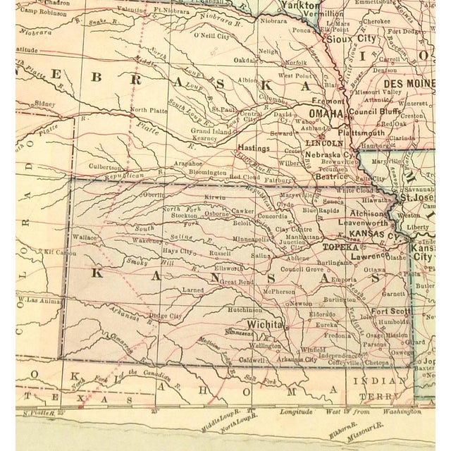 Antique 1889 Map of North Central United States - Image 2 of 4