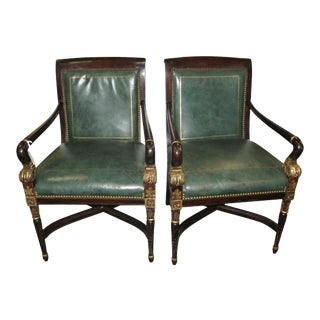 Green Tooled Leather Library Chairs - A Pair