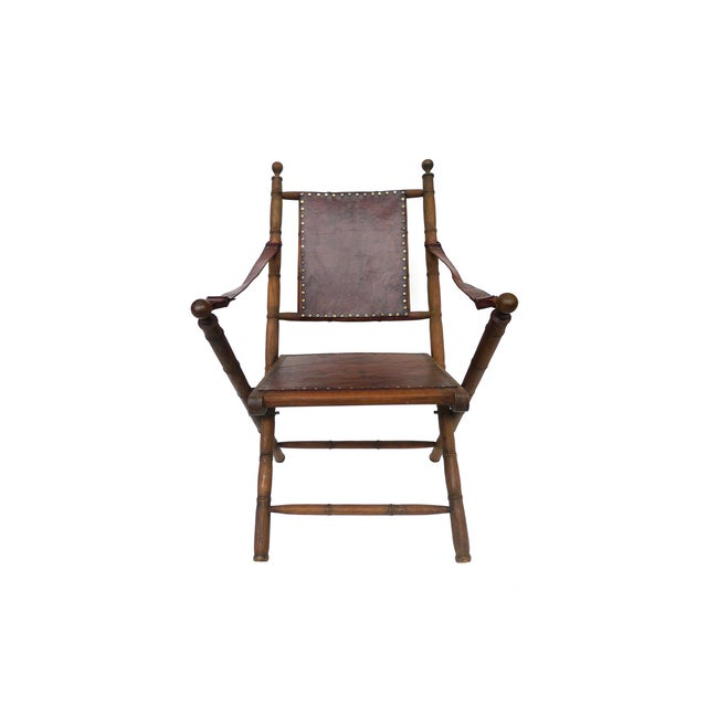 Campaign Style Leather & Ash Folding Chairs - Pair - Image 5 of 10