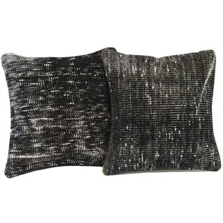 Black Handmade Over-Dyed Rug Pillows - Pair