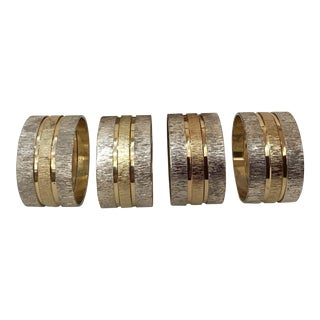 Mid-Century Silverplate & Brass Napkin Rings - Set of 4