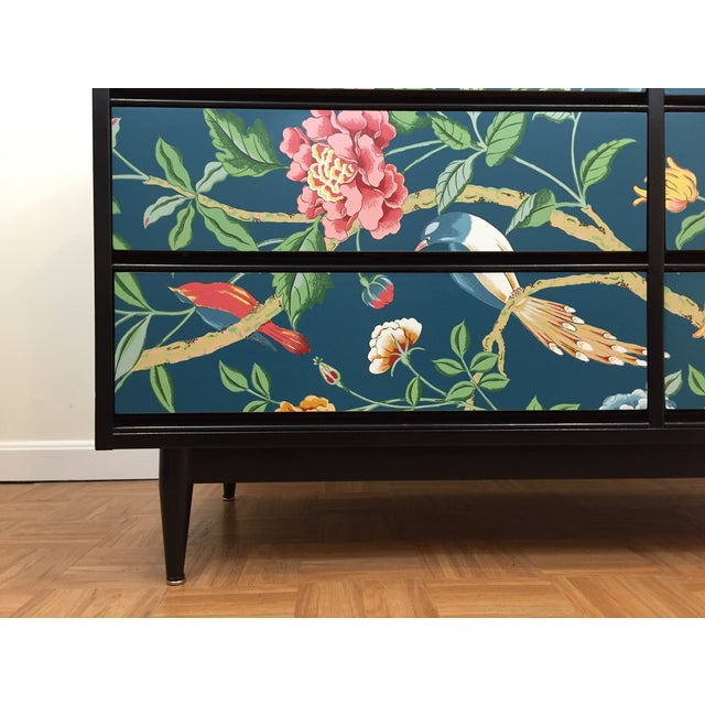 Asian Printed Mid-Century 6-Drawer Dresser - Image 5 of 6