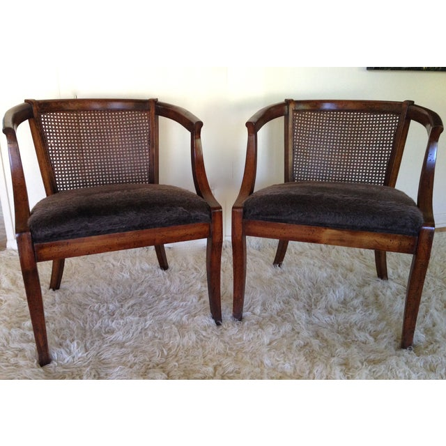 Vintage Cane Back & Faux Fur Seat Chairs - A Pair - Image 2 of 7