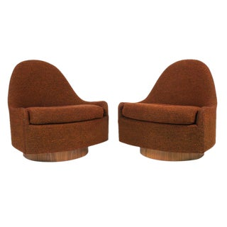 Milo Baughman for Thayer Coggin Teardrop Swivel & Tilt Slipper Chairs - a Pair