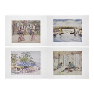 1901 Original Lithographic Prints of Japan by M. Menpes - Set of 4