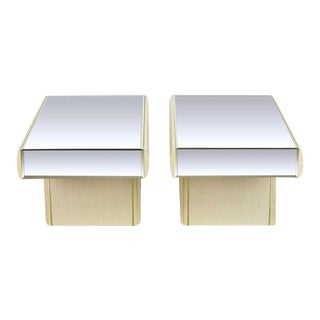 Pair Italian White Glazed Oak & Mirror Cantilever End Tables