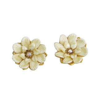 60's Pearly Resin and Rhinestone Floral Clip Ons