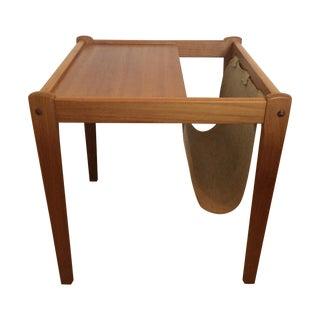Danish Modern Teak Table With Magazine Holder