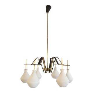 Stilnovo Brass and Black Metal Chandelier