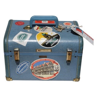 Blue Vintage Train Case With Original Labels