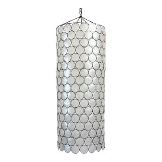 Capiz Shell Cylinder Hanging Lantern