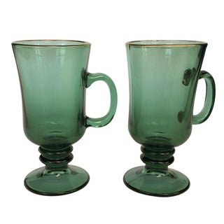 Vintage Green Glass Mugs - A Pair
