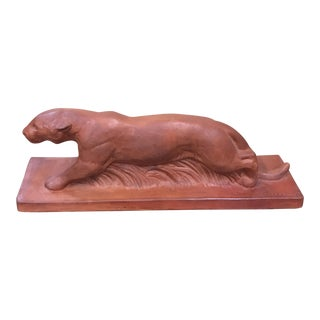 """French Art Deco Terra Cotta """"Panther Sculpture """" signed MICHAEL Circa 1930s."""