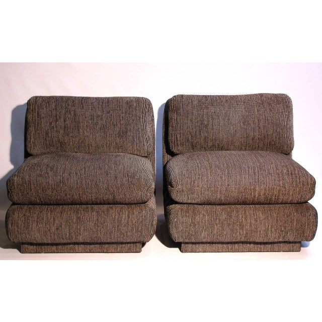 Marge Carson Modern Armless Lounge Chairs - A Pair - Image 4 of 7