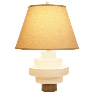 Porcelain And Wood Disc Table Lamp