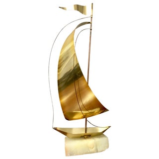 Marble & Brass Sailboat Sculpture