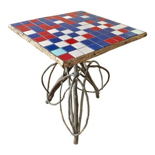 Vintage Adirondack Twig & Tile Side Table
