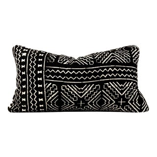 Boho Chic Black African Mudcloth Lumbar Pillow