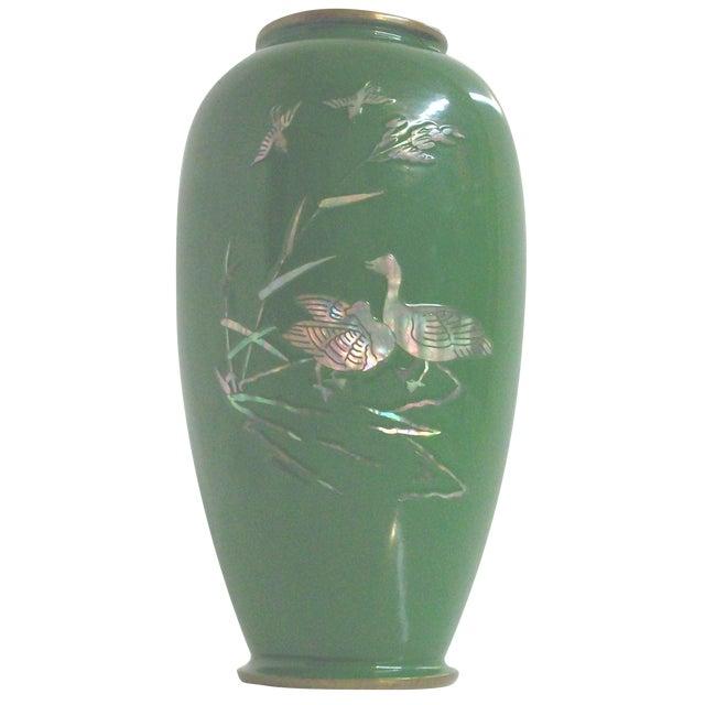 Green Enamelled Chinoiserie Brass Vase - Image 1 of 5