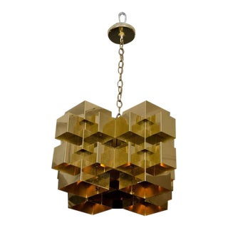 Curtis Jere Polished Brass Cubist Chandelier