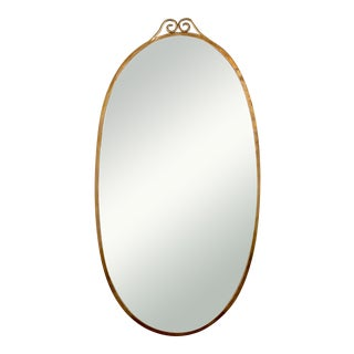 Italian Brass Oval Mirror in the Manner of Gio Ponti