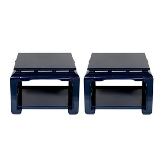 Ming Navy Side Tables - A Pair