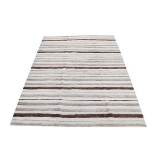 Persian Nomadic High-Low Wool Pile Kilim - 5′7″ × 7′4″