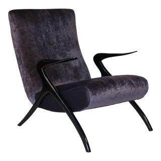 Mid-Century Modern Italian Armchair - Silk Velvet
