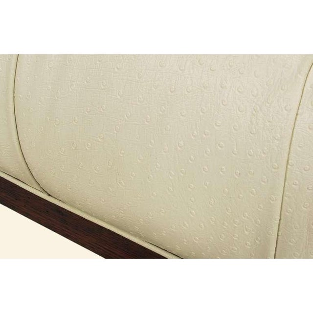 Rare Bert England Button-Tufted White Ostrich Texture Sofa - Image 7 of 8