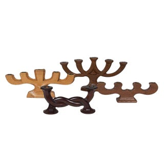 Set of Four Wood Candelabra, German and French 1930s