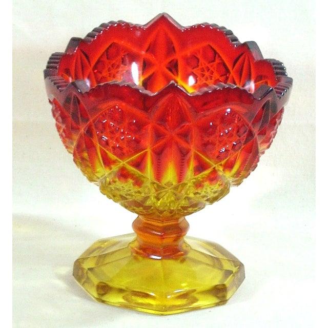 Snap Amberina Glass Vase Red Pedestal Bowl Chairish Photos On Pinterest