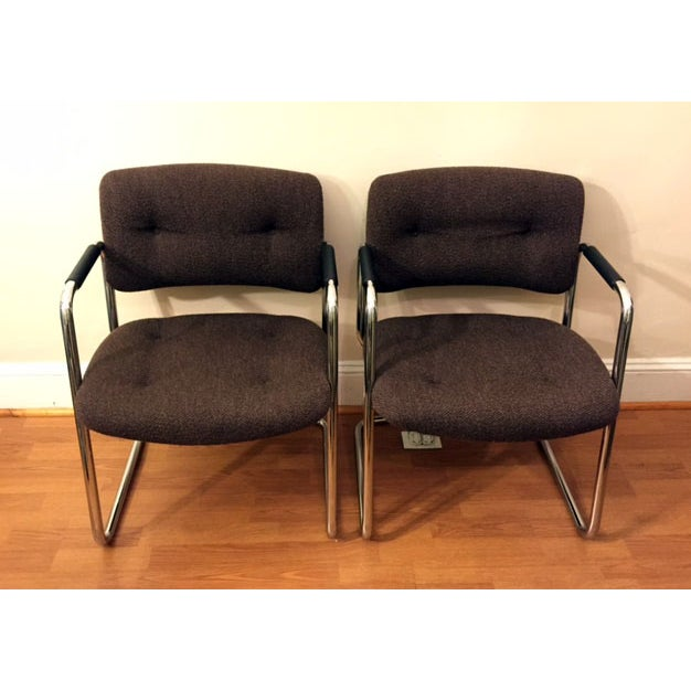 Steelcase Brown Chrome Cantilever Chairs - A Pair - Image 2 of 4