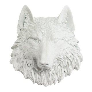 Wall Charmers White Faux Taxidermy Mini Wolf Head Wall Sculpture