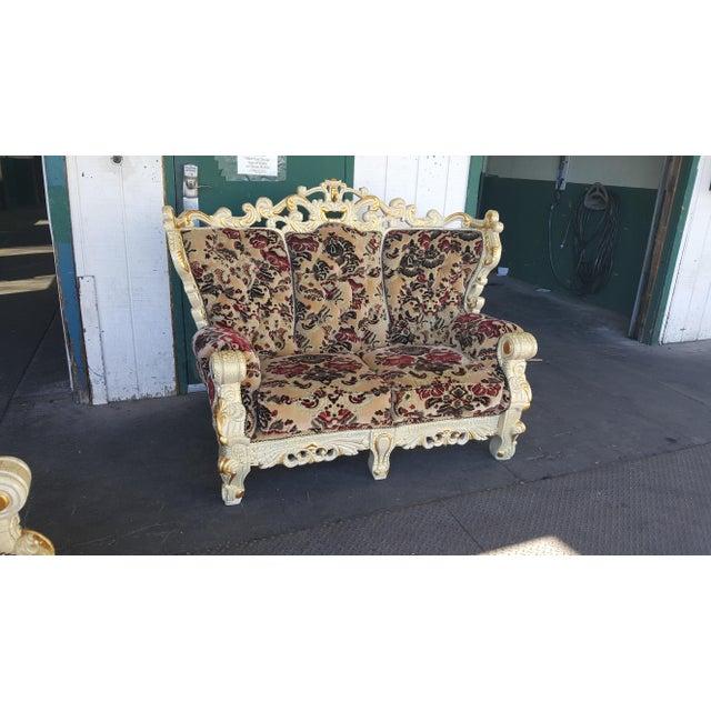 Vintage Victorian Velvet Settee - Detailed Carved Wood Frame Floral Velvet Loveseat / Large Chair - Image 2 of 4