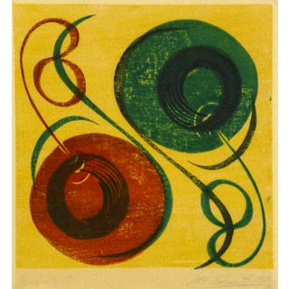 Mid-Century Modern Abstract Woodblock Print, 1969