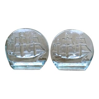 Blenko Sailing Ship Glass Bookends Mid Century - A Pair