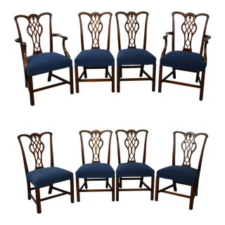 Chippendale Style Set of 8 Custom Mahogany Dining Chairs