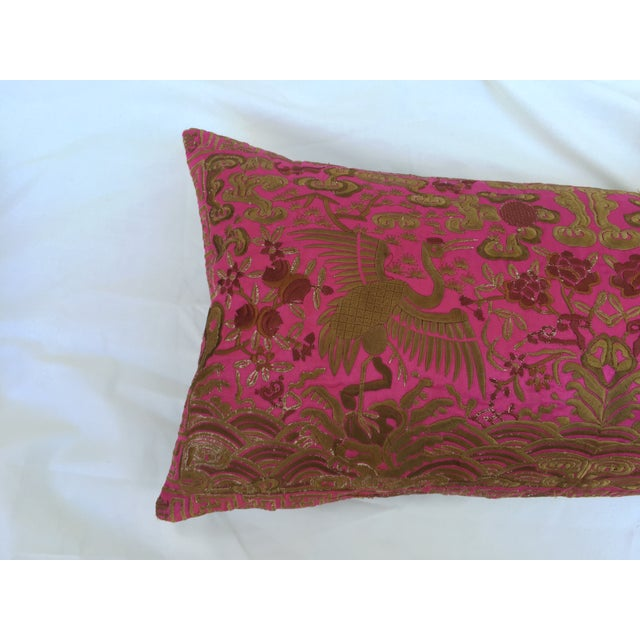 Chinoiserie Pink Silk Crane Boudoir Pillow - Image 5 of 7