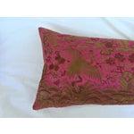 Image of Chinoiserie Pink Silk Crane Boudoir Pillow