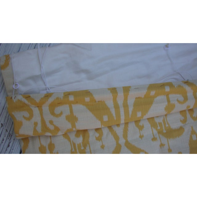 Set of 4 Custom Yellow Gold Cream Ikat Shades - Image 9 of 10