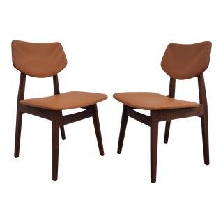 Jens Risom Walnut & Vinyl Chairs - A Pair