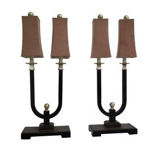 1970s Vintage Tall Horseshoe Style Lamps - a Pair