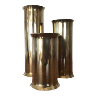 Mid-Century Modern Scanmalay Denmark Brass Candle Holders - Set of 3