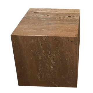 1970s Travertine Cube / Pedestal