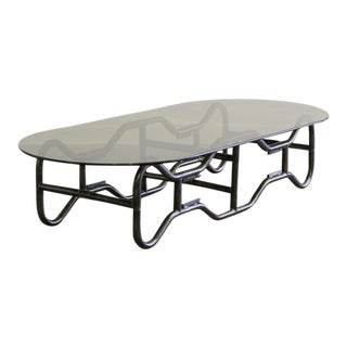 French Industrial Steel Frame and Smoked Top Coffee Table circa 1970