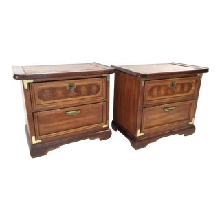 Solid Wood Asian Ming Campaign Nightstands - A Pair